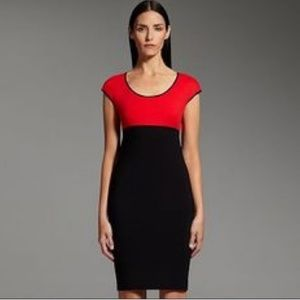 Narciso Rodriguez red and black pointe shift Dress